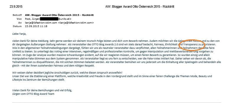 AW_ Blogger Award Otto Österreich 2015 - Rücktritt