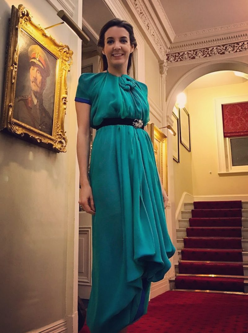 H.R.H. Princess Tessy of Luxembourg in the MŁ Custom Emerald and Sapphire Cocktail Dress ready to meet Her Majesty The Queen at Buckingham Palace