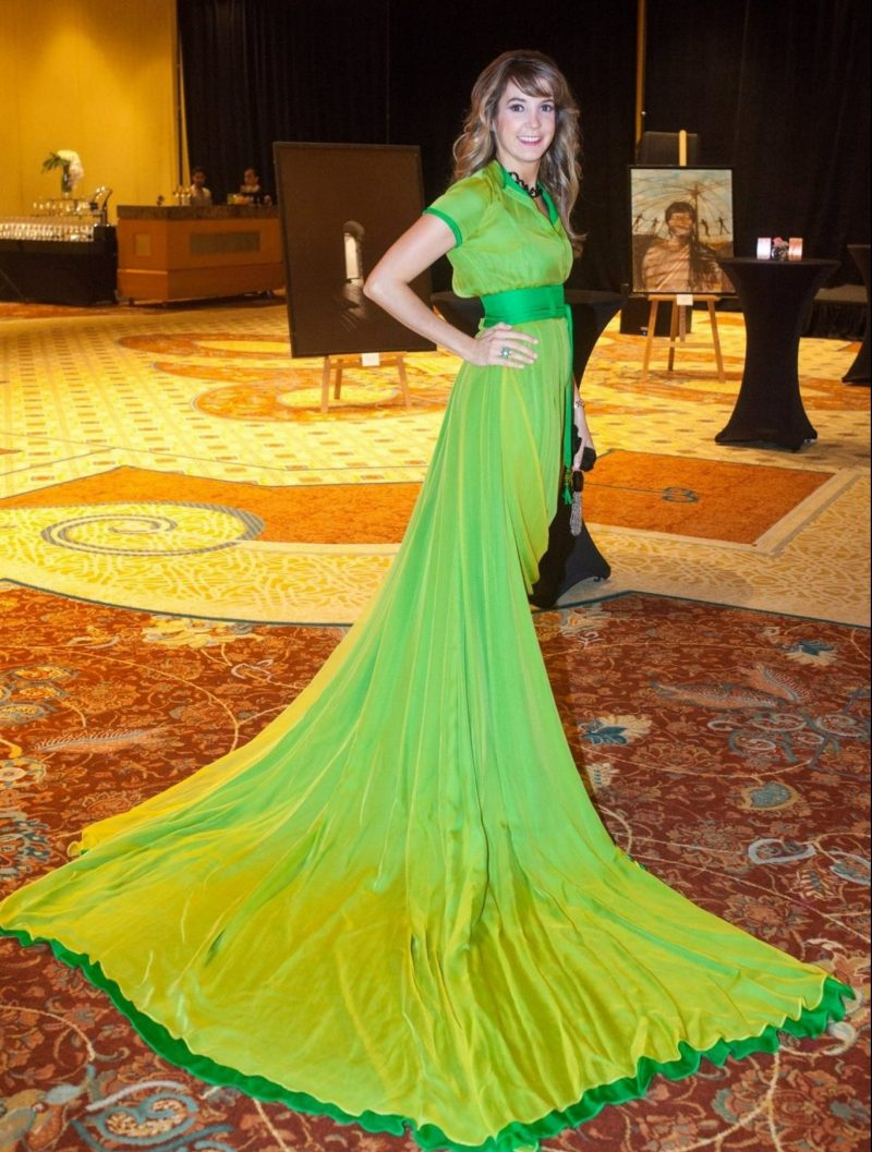 H.R.H. Princess Tessy of Luxembourg wearing the MŁ Couture Peridot Catsuit Gown at the Big Opening of the Royal Global Artistic Forum Exhibition at The Ritz-Carlton Dubai