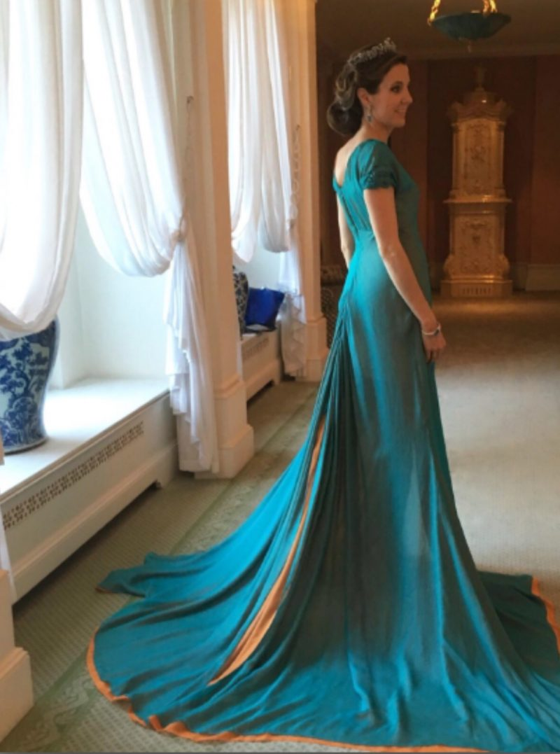 The Marcin Lobacz Couture Gown in Turquoise and Orange, Nassau Colours, worn by H.R.H. Princess Tessy of Luxembourg with the Diamond Vine Leaves Tiara at the Finale Gala closing Luxembourg National Day 2016