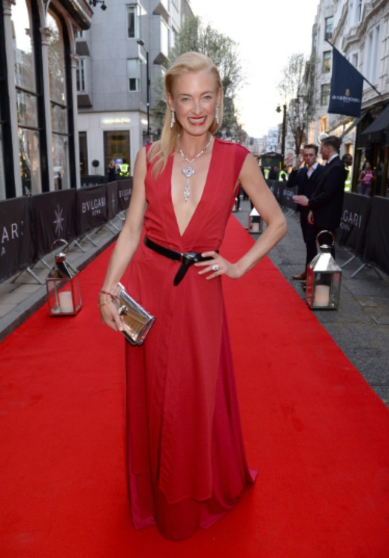 H.S.H. Princess Lilly zu Sayn-Wittgenstein, wearing Marcin Lobacz Fire Evening Gown and Waistcoat Ensemble in Blood Red at the Big Reopening of Bulgari Jewellery flagship store on Bond Street in Mayfair